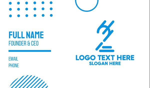 second - Modern Outline Number 2  Business card horizontal design