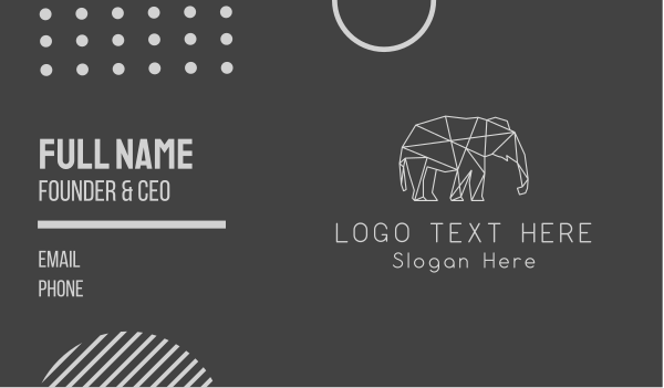 animal welfare - Geometric Elephant Business card horizontal design