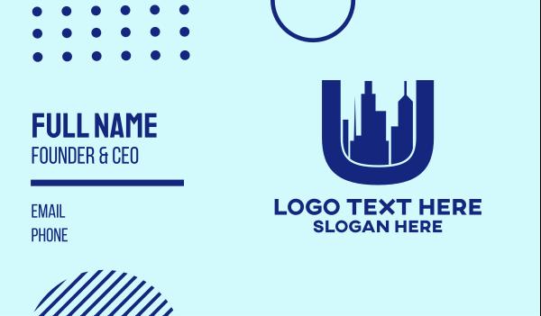city development - Modern City Letter U Business card horizontal design