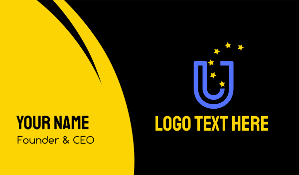 blue and yellow - Blue Letter U & Stars Business card horizontal design