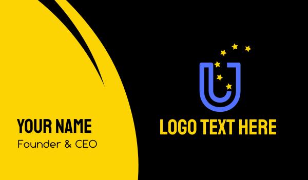 educational - Blue Letter U & Stars Business card horizontal design