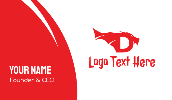 red dragon - Red Dragon Letter D Business card horizontal design