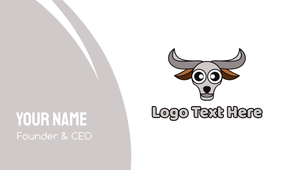 bull fighting - Grey Buffalo Head Business card horizontal design