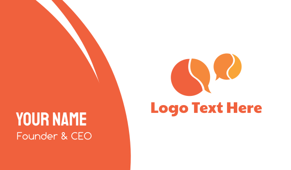 translation - Orange Speech Bubbles Business card horizontal design