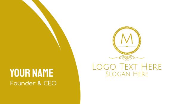 pricey - Golden Luxurious Round Lettermark Business card horizontal design