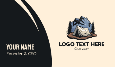 Forest Mountain Camping Tent Business Card