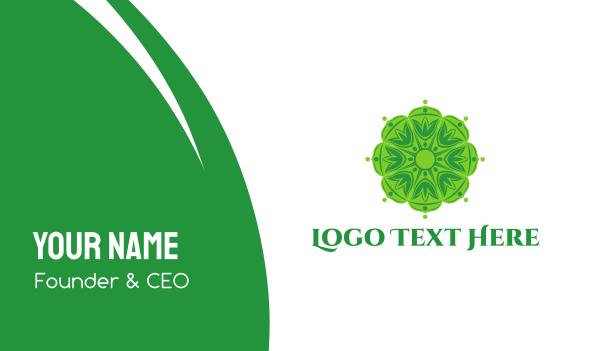 green flower - Green Mandala Business card horizontal design