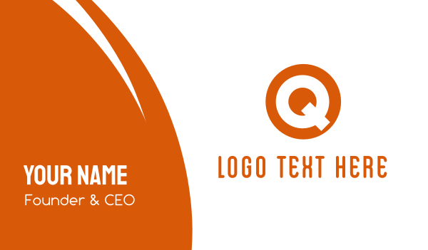 thick - Circle Letter Q Business card horizontal design