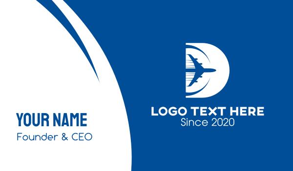 trip - Plane Letter D Business card horizontal design