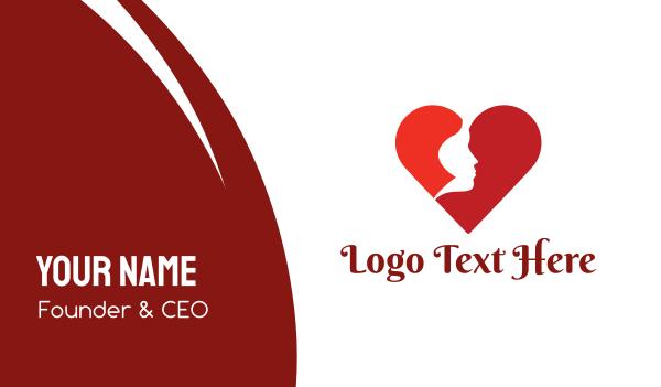 bachelorette - Red Woman Heart Business card horizontal design