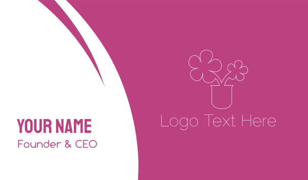 pink flower - Flower Pot Outline Business card horizontal design
