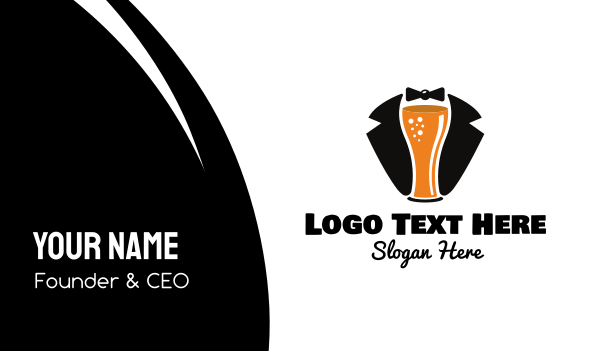 bow tie - Beer Tuxedo  Business card horizontal design