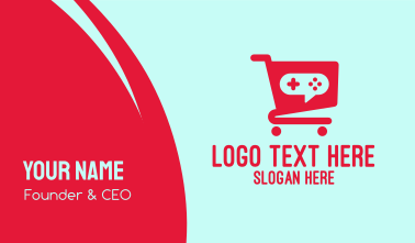 Red Gaming Store Cart Business Card