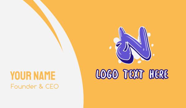 vibrant - Blockbuster Graffiti Letter N Business card horizontal design