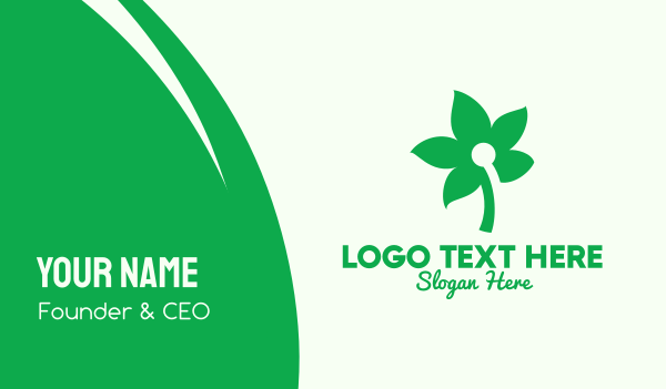 all natural - Simple Green Flower  Business card horizontal design