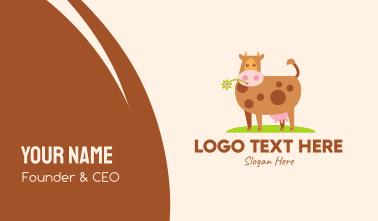 Farm Cartoon Cow Business Card