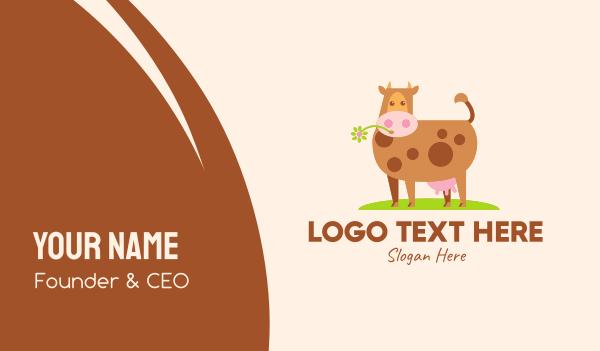 cow - Farm Cartoon Cow Business card horizontal design