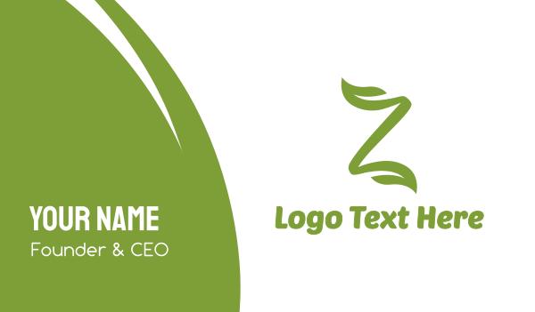lettermark z - Green Leaf Z Stroke Business card horizontal design