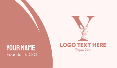 Elegant Leaves Letter Y Business Card