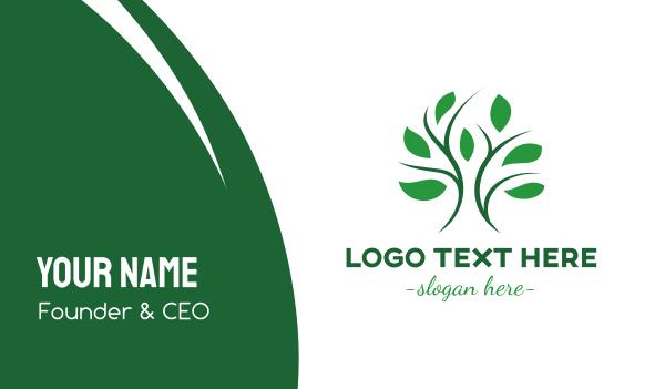 primitive - Curvy Stroke Tree Leaf Business card horizontal design
