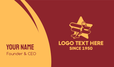 Vintage Star Plane Business Card