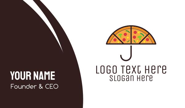 rain - Umbrella & Pizza Business card horizontal design