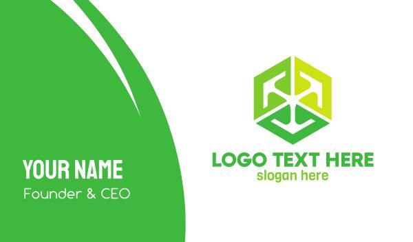 green hexagon - Green Cube Tech Business card horizontal design