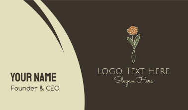 Rose Flower Stalk Business Card