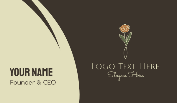 yogi - Rose Flower Stalk Business card horizontal design