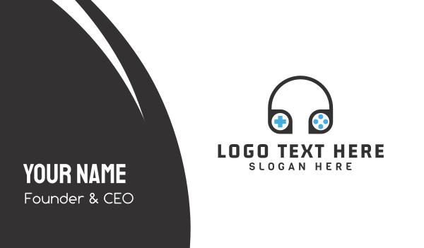 audiobook - Gamer Headphones Business card horizontal design