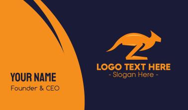 Orange Kangaroo Letter Z Business Card