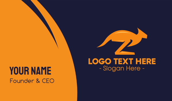 marsupial - Orange Kangaroo Letter Z Business card horizontal design