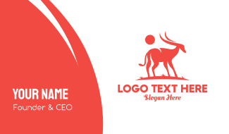 Red Antelope Silhouette  Business Card
