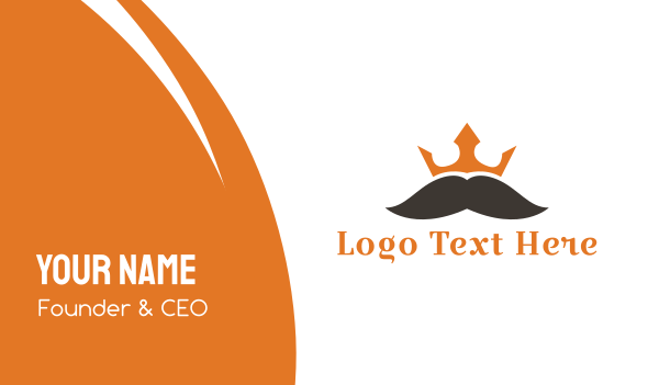 mens salon - Mustache King Business card horizontal design