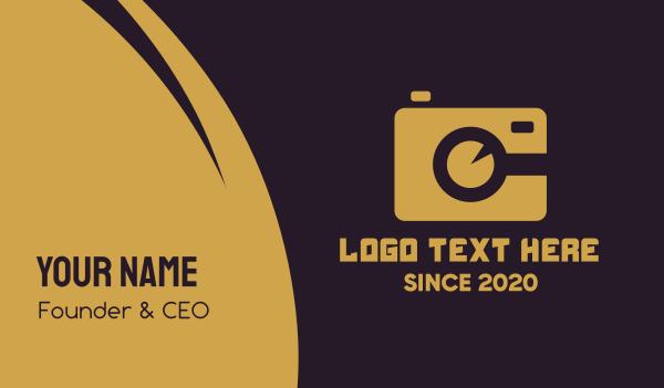 camera shop - Simple Gold Camera Business card horizontal design