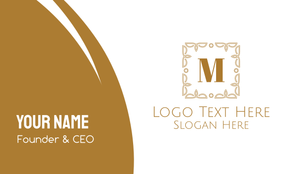 ancestral - Luxurious Frame Lettermark Business card horizontal design