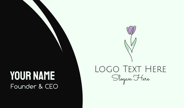 skincare - Modern Flower Line Art Business card horizontal design
