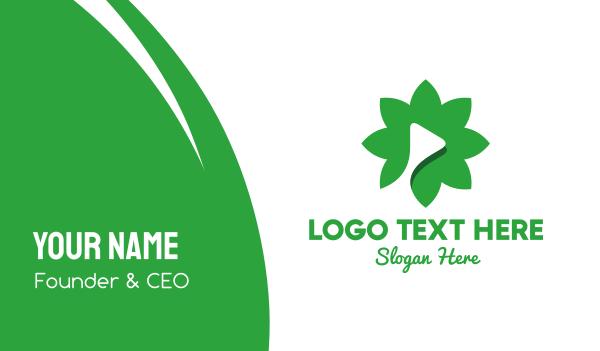 green flower - Flower Media Business card horizontal design