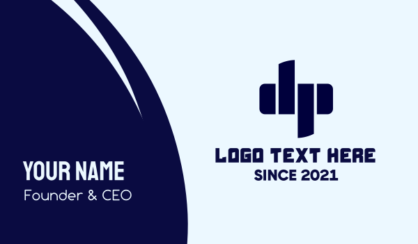 dp - Blue Futuristic D & P Business card horizontal design