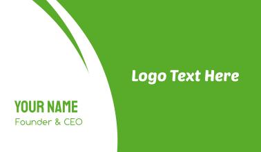 Modern Green & White Business Card