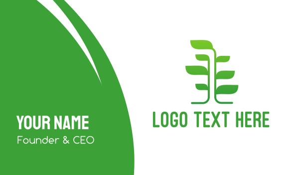 primitive - Green Vine Tree Business card horizontal design