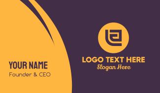 Golden Elegant Letter E Business Card