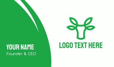 Green Bovine Bull Cow Business Card