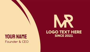 Business Monogram M & R Business Card