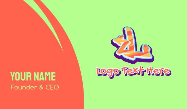 music label - Arrow Graffiti Art Letter L Business card horizontal design