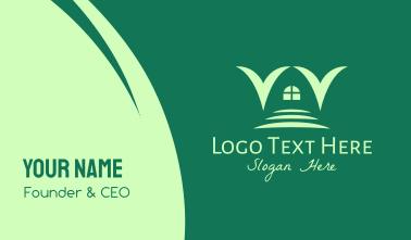 Green Hallway Letter V Business Card