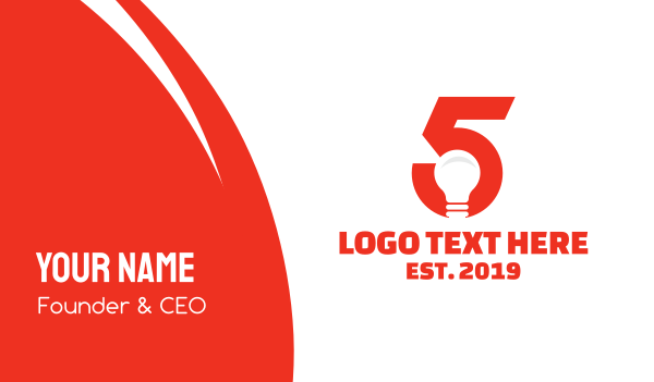 think tank - Light Bulb Number 5 Business card horizontal design