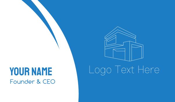 room - Geometric House Building Business card horizontal design