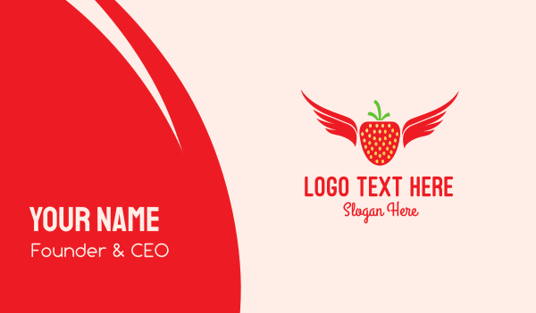 groceries - Flying Strawberry Business card horizontal design