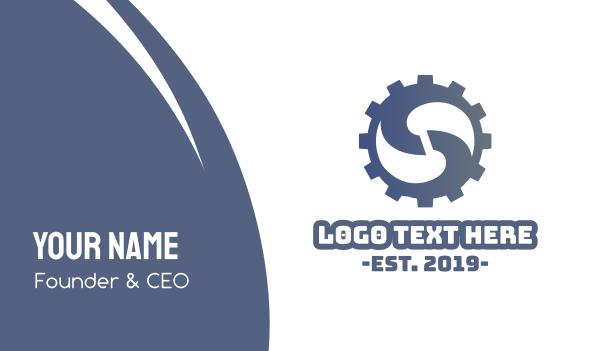 cogwheel - Cog Letter S Business card horizontal design